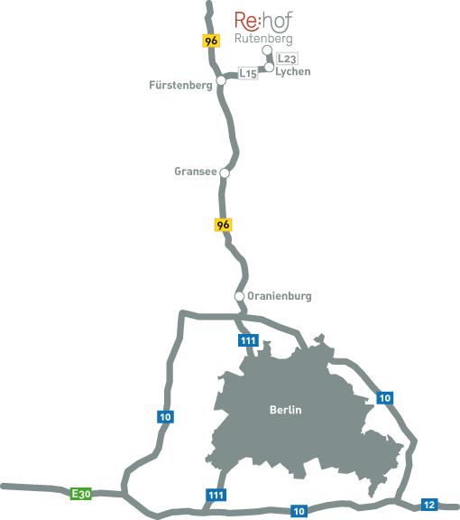 Anfahrt zum Rehof Rutenberg, Ferienwohnungen und Ferienhäuser in Brandenburg